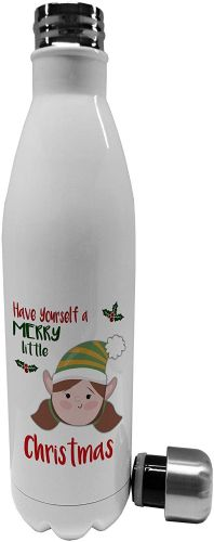 750ml Merry Little Christmas Girl Elf Novelty Stainless Steel Vacuum Insulated Water Bottle